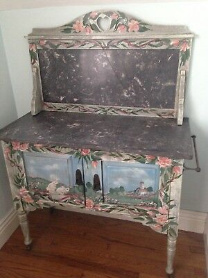 Antique shabby farmhouse painted cabinet with marble top original hardware