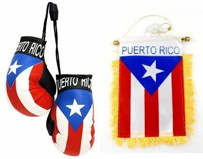 Lot Puerto Rico Flag Hanging Mini Boxing Gloves & Mini Flag Banner