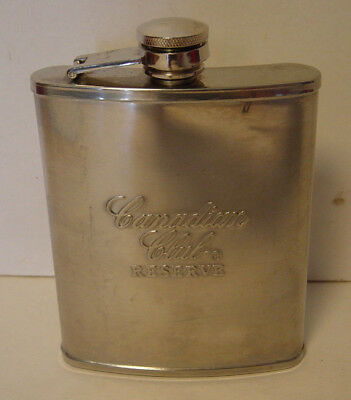 Canadian Club Reserve Stainless Steel Flask Whiskey Screw Off Cap Attached Vtg