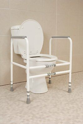 Free Standing Toilet Frame Width Height Adjustable Sturdy Steel Construction