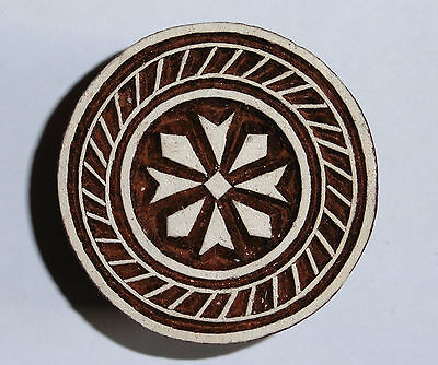 Round Shaped 5 cm Indian Hand Carved Wooden Printing Block Stamp (2016-RD3)