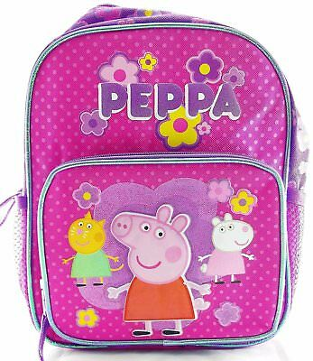 "Peppa Pig 10"" Canvas Small Toddler Pink & Purple School Backpack"