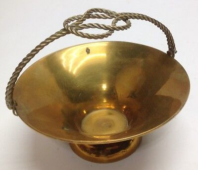 Vintage Solid Brass Basket Dish Tray Rope Knot Handle Design Patina Decor India