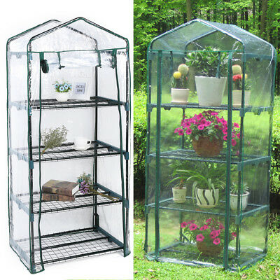 4Tier Mini Greenhouse Steel Frame Outdoor Garden Plant Grow House PVC Plastic US