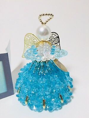 Unique Beaded Pin Angel Doll March Birthstone Aquamarine Colors