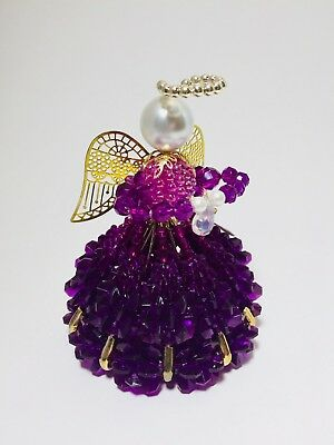 Unique Beaded Pin Angel Doll February Birthstone Amethyst Purple Colors