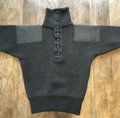 Vtg BRENNER Austrian Military Commando Wool Sweater Elbow Patches Shawl Collar
