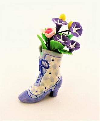 Miniature Dollhouse Fairy Garden Multi-Colored Flowers in Shoe - Buy 3 Save $5