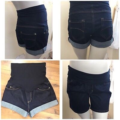 NEW DENIM MATERNITY SHORTS SIZE 8-22 UNDER/OVER BUMP TURN UPS FREEPOST  (m38)