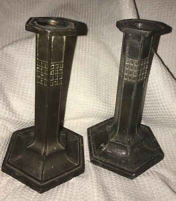 Authentic Antique PAIRPOINT Candlesticks Spelter Cast Metal Arts and Crafts Deco