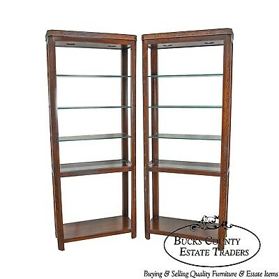 Chippendale Style Pair of Mahogany Tall Etagere Bookcases