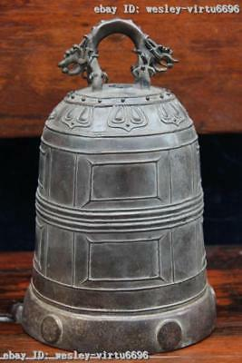 Mark Chinese Buddhism Old Pure Bronze Copper temple Dragon Clock Bell Slam Bell