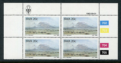 1983 South West Africa.  Painters of South West Africa.  20c block of 4 MUH.