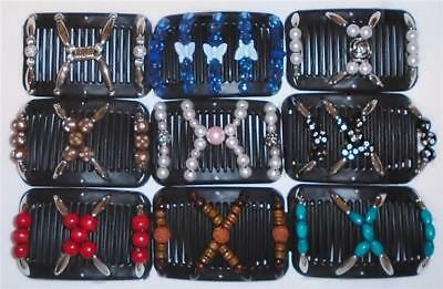 "Double MINI Hair Combs, Angel Wings Clips 3x2.5"", African Butterfly, BLACK MC8"