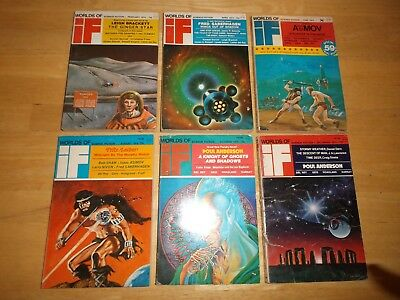 IF Worlds of Science Fiction (Lot of 6 Digest Magazines) 1974 Complete Year