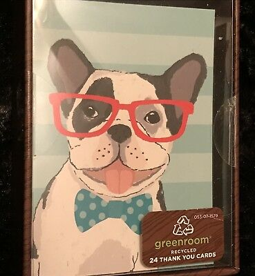 Thank You Cards Blank Note Cards  Boston Terrier French Bulldog Box of 24
