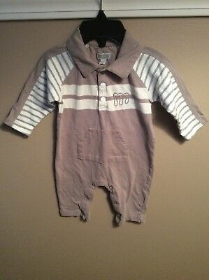 a88597393c7 Baby Boys MEXX Gray and White Striped Polo Romper Outfit Size 3-6 Months 62