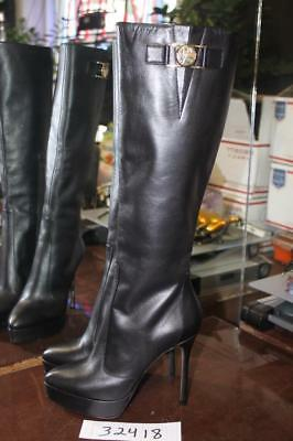 d6469cbd669 NWT Versace Collection Black Leather Knee High 4.5