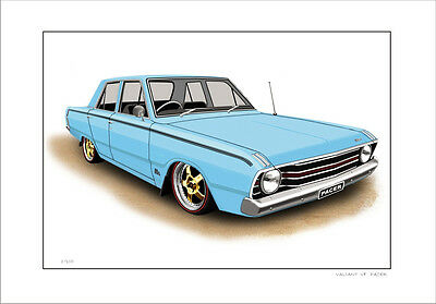 Valiant Vf  225 Hemi Pacer  Limited Edition Car Drawing Print  ( 5 Car Colours)