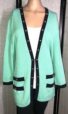 St John Collection By Marie Mint Green Santana Knit Cardigan Size Large