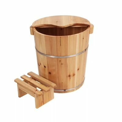 Foot basin Tall wooden bucket with cover rest stool foot bath足浴桶泡脚木桶加高带盖和小凳3in1