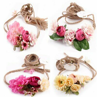 Women Wedding Flower Floral Bride Party Hair Headband Crown Prop Garland Wreath