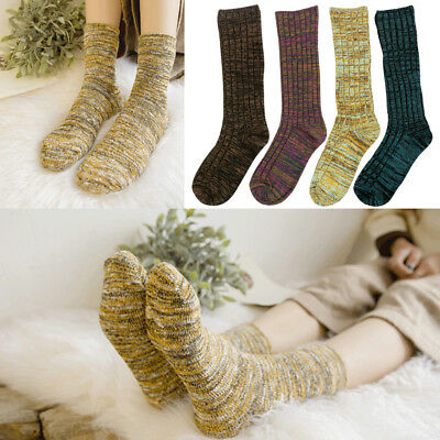 4 Pairs Colored Adults Womens Socks Warm Vintage Hike Boot Cotton Socks Winter