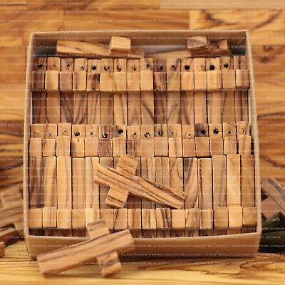 Small Olive Wood Crosses. Size 3.6 cm. 50PCS. Gift Paper Craft Box. Holy Land