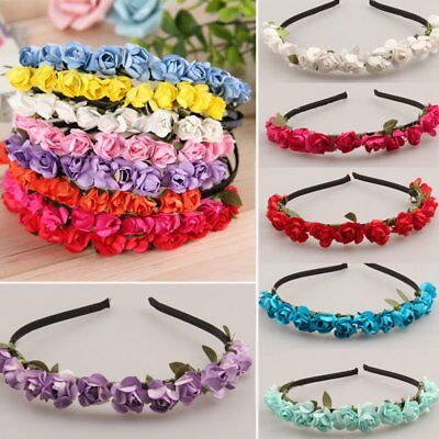 Flower Crown Headband Floral Hair Garland Wreath Handmade Wedding Headpiece KU