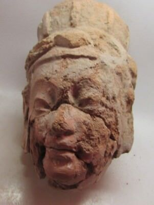 Circa 100-200Ad Ancient Gandharan Terracotta Head/Statue Fragment - Very Rare
