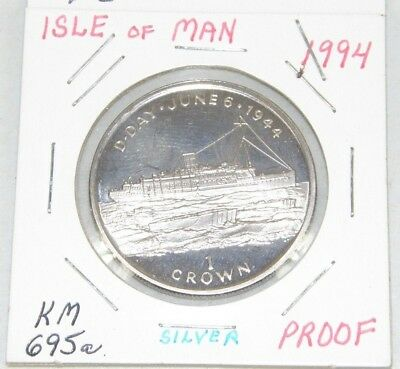 ISLE OF MAN - 1994 SILVER PROOF ONE CROWN COIN D-DAY COMMEMORATIVE KM-695a