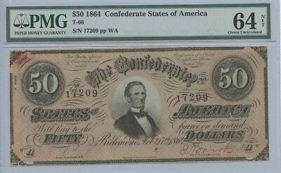1864 $50 Confederate States of America Note T-66 PMG MS64NET Choice Uncirculated