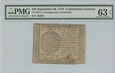 1778 Continental Currency $40 CC-84CT Contemporary Counterfeit PMG MS63 Choic...
