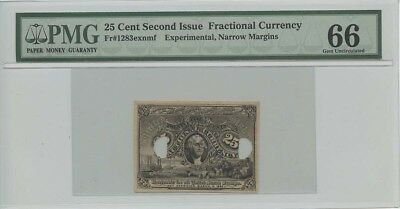 Second Issue Twenty Five Cent Fractional Currency Fr#1283exnmf Experimental, ...