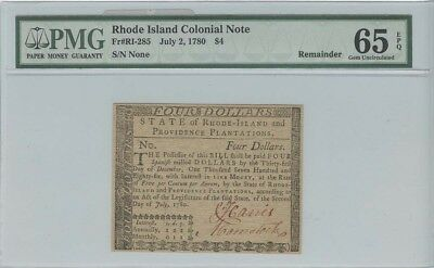 1780 $4 Rhode Island Colonial Note Fr#RI-285 PMG 65 EPQ Choice Uncirculated R...