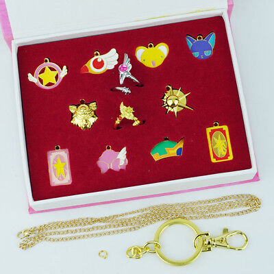 Card captor Sakura Ring Pendant Keychain Necklace 12PCS Cosplay Collection Gift