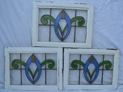 3 British leaded light stained glass window panels. R705d. WORLDWIDELIVERY!!!