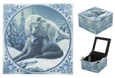 "The Snow Kisses Designer Mirror Jewelry Box 4""L Winter Wolves Lover Wolf Kiss"