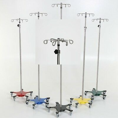 New MCM-223 Stainless Steel 5-leg Space Saving IV Pole w/6 Hook Top 1 ea