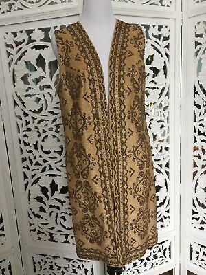 Vintage Long Vest Moroccan Gypsy Boho Festival Hand Beaded Women's Size Medium