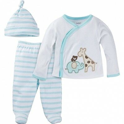 Gerber Boys 3 Piece Set Take-Me-Home NEW Neutral Teal Safari Various Sizes