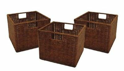 Rattan Storage Baskets Square Woven Basket For Shelves Wire Small Wicker 3  Set