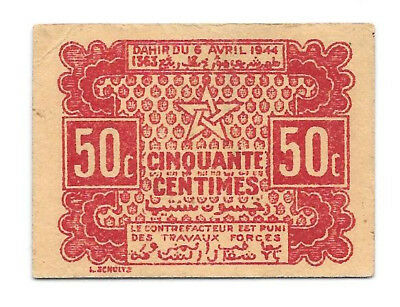 Morocco 50 Centimes 1944 Emergency Issue Banknote
