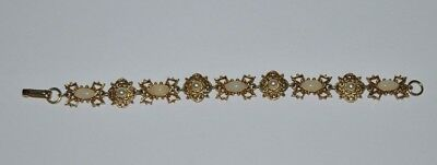 Beautiful Vintage Florenza Gold Tone, Faux Pearl and White Settting Bracelet