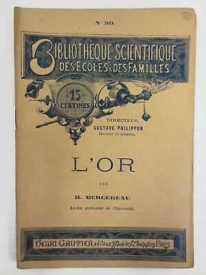 Antique 1880's Booklet on Gold Mines by Mercereau France, Scientific Library