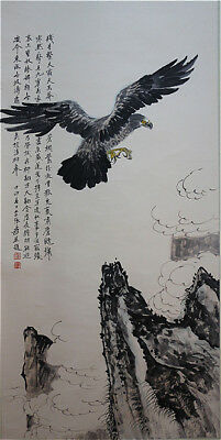 Excellent Chinese 100% Hand Painting & Scroll Eagle By Zhang Daqian 张大千 YYX789