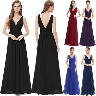 UK Womens Long Chiffon Evening Formal Party Ball Gown Prom Bridesmaid Maxi Dress
