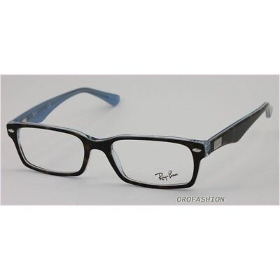 AUTHENTIQUE RAY-BAN RX 5206 5023 Havane Bleu Azur Rectangle Lunettes ... 1022538b4b25