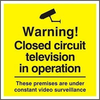 Pack Of 5 Cctv In Operation Signs -Large Warning Security Notice - Yellow/Black