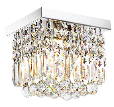 Modern Mini Crystal Chandelier Square Flush Mount Ceiling Light Fixture W8""